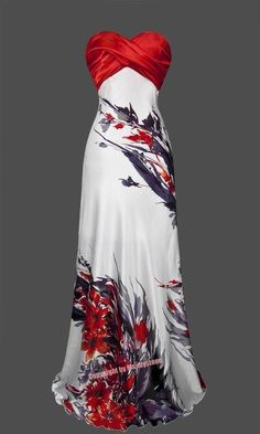 Strapless Ruched Floral Ink Printed Long Evening Dress S Red #cutedress #Maxi #Formal