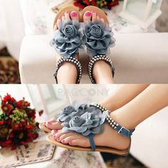 Sweet Flowers Beaded Metal Strap Sandals Flat Thong Sandals