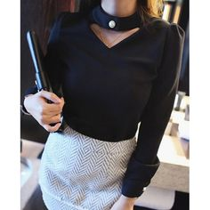 Solid Color Elegant Style Stand Collar Long Sleeve Women's T-Shirt