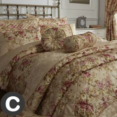 Fleur De Lis Living A traditional floral print on a luxurious jacquard fabric these filled cushions will look great in any county chic bedroom. Size: Super King x Satin Bedding, Quilt Bedding, Versailles, Natural Duvet Covers, Single Duvet Cover, Sofa Pillows, Cushions, Dream Bedroom, Bedroom Size
