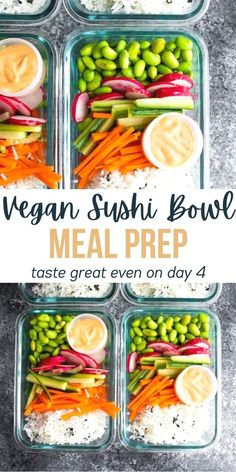 Vegan sushi bowl meal prep bowls have all the flavors of sushi without the rolling! Made with cucumber, carrots, radish, edamame, rice and a sriracha mayo dressing. #sweetpeasandsaffron #mealprep #vegan #glutenfree Vegan Meal Prep, Meal Prep Bowls, Tofu Recipes, Dairy Free Recipes, Mayo Dressing, Sushi Bowl, Vegan Sushi, Vegan Mayonnaise, Quinoa Breakfast