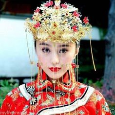 Bridal-Chinese-traditional-gold-tone-dangle-flower-Hair-comb-Phoenix-Crown-RB681
