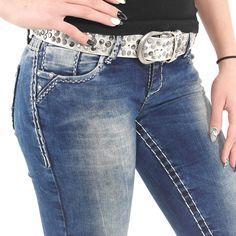 Stylische Damen Jeans Used Look mit weißen Nähten von Cipo   Baxx im Slim  Fit Schnitt   Farbe  Blau cac6e36f79