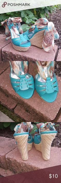 Women's Wedge Shoe HOST PICK Teal and Brown's with beautiful tie 5inch wedge Sz.8 Minx Shoes Wedges