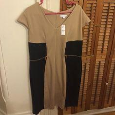 NY&Co black/tan dress size XL NWT! Super stretchy dress w/gold zipper detail. New York & Company Dresses Midi