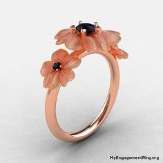 14k rose gold black diamond flower engagement ring - My Engagement Ring