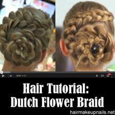 Dutch Flower Braid Hairstyle Tutorial ►► http://www.hairmakeupnails.net/dutch-flower-braidupdoscute-girls-hairstyles/?i=p