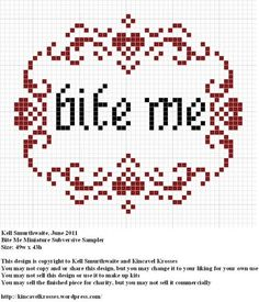 "Free ""Bite Me"" Cross Stitch pattern #vampires #diy #crafts #cross_stitch #bite_me #subversive #subversive_cross_stitch #halloween"