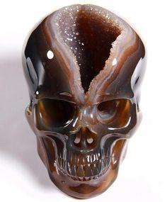 """Huge Geode 5.0"""" Agate Carved Crystal Skull from skullis.com"""