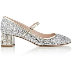 Miu Miu Glitter Mary Jane Pumps ($895) ❤ liked on Polyvore featuring shoes, pumps, flats, heels, sapatos, silver, block heel shoes, round toe pumps, leather mary jane flats and glitter flats