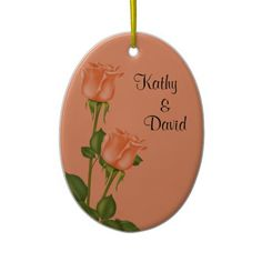 Peach Roses Wedding Ornament http://www.zazzle.com/peach_roses_wedding-175362561741010043?rf=238631258595245556
