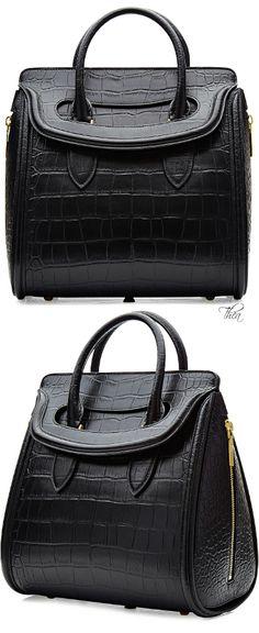 Alexander McQueen ~ Black Leather Satchel 2015