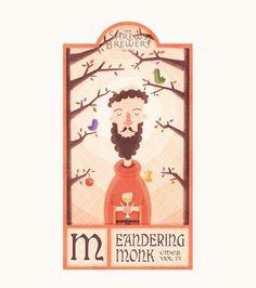 Meandering Monk Label, Digital, 1500 x Label Design, Branding Design, Homemade Cider, River Severn, Home Inc, Medieval Town, Brewery, Invitations, Digital
