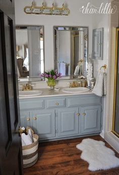 Dear Lillie: Our Inexpensive Mini Makeover on our Master Bathroom (Includes a Cost Breakdown and Some Tips on Sprucing up a Small Bathroom) Bathroom Wall Colors, Small Bathroom, Master Bathroom, Bathrooms, Bathroom Ideas, Bathroom Things, Home Goods Mirrors, Grey Interior Doors, Patio Door Coverings