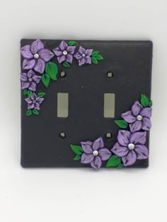 Violet Flower Switchplate; Purple Plumeria; Lavender Floral Double Light Switch Cover; Polymer Clay Switch Plate; Style #:VIF02 by EmilyMah on Etsy
