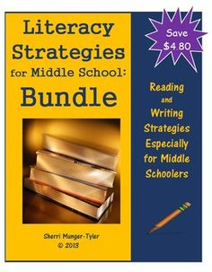 Buy 'Reading' and 'Writing' together to save $4.80. Middle School students are still learning HOW to read and write well and they need strategies that can be used effectively in all classes! Use these strategies to help students increase their skills and transfer these skills to all subject areas. Special attention is paid to close reading, metacognition, and repairing reading when meaning breaks down. Teaching Tips, Learning Objectives, and Common Core State Standards all included. $15.60