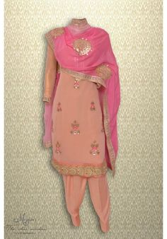 Pretty peach suit adorn in gota mirror and thread work