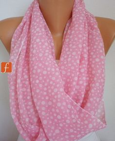 Pink Polka Dot  Infinity Scarf