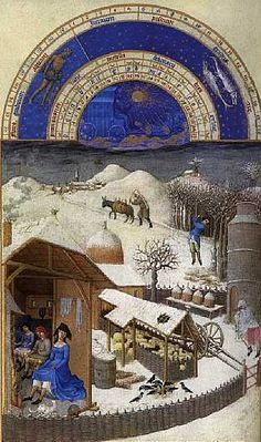 The Limbourg brothers, January page from Les tres riches heures du duc de Berry, 1413–16. Both pictorial and written information is presented with clarity, attesting to a high level of observation and visual organization. LINK to more!