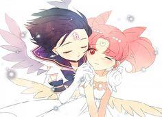 Sailor Saturn and Mini Moon Sailor Moons, Watch Sailor Moon, Sailor Chibi Moon, Sailor Saturn, Anime Girls, Gatomon, Moon Drawing, Moon Images, Sailor Scouts