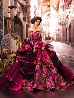 Magenta gown, couture, wedding, bridal, dress, fantasy, flowers, flower, floral, flora, fairytale, fashion, designer, beautiful, stunning, prom dress, ball gown, dark pink roses, ribbons and laces, chiffon, Victorian, Romantic hairdo, castle ballroom floor.