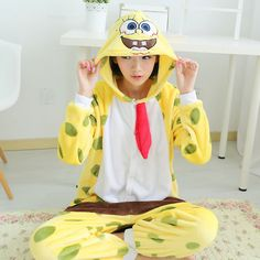 Yellow SpongeBob Velvet Cartoon Animal Hooded Autumn and Winter Onesies Pajamas Adult Sleepwear Kigurumi $29.00  #Lovejoynet #Animal #Sleepwear