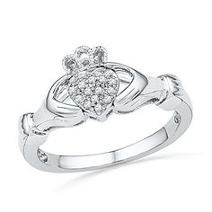 10kt White Gold Womens Round Diamond Claddagh Hands & Heart Cluster Ring 1/20 Cttw