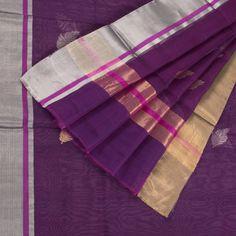 Marm Handwoven Pompadour Purple Chanderi Silk Cotton Saree with Ganga Jamuna & Tissue Border 10002311 - AVISHYA