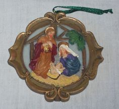 "3.5"" 3D Flat Christmas Tree Nativity Scene Ornament Jesus Mary Joseph Manger Nativity Ornaments, Christmas Tree Ornaments, Jesus Mary And Joseph, Scene, 3d, Flat, Portrait, Love Signs, Births"