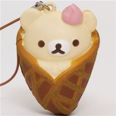 white Rilakkuma bear in waffle squishy cellphone charm