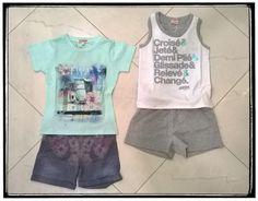 Completo bambina t-shirt e shorts tandem, Completo bambina canotta e shorts dimensione danza