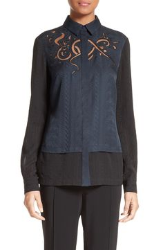 New Yigal Azrou?l Embroidered Silk Jacquard Blouse FOREST fashion online. [$790] new offer from topshoppingonline<<