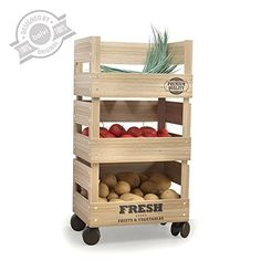 Diy Wood Rack Beautiful Wooden Trolley 3 Tier Kitchen Fresh Ve Able Fruit Storage Rack. Vegetable Rack, Vegetable Storage, Vegetable Drawer, Kitchen Storage Trolley, Kitchen Rack, Wooden Diy, Wooden Boxes, Fruit Storage, Wood Rack