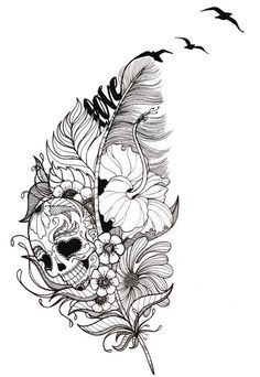 Image result for fern feather and skull tattoo