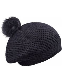 829d8cf4df1166 Warm Cable Knit Beanie Hat With Pom Pom Stylish Winter Hats For Women Skull  Cap - Black - CK1884LEWOZ
