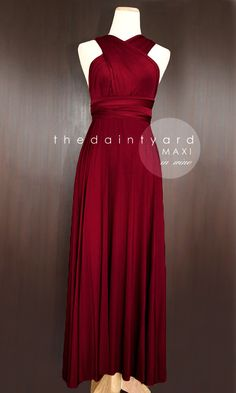 MAXI Wine Red Bridesmaid Prom Wedding Infinity Dress (Convertible / Wrap Dress) by thedaintyard on Etsy https://www.etsy.com/listing/168308134/maxi-wine-red-bridesmaid-prom-wedding