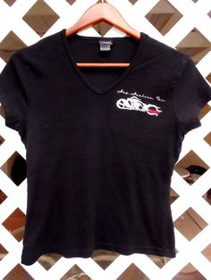 SILVER FOR WOMEN Hog Handlers Inc Top Size M Black Red Moto Graphics V Neck #SilverForHer #VneckTShirt #Casual