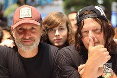 Andrew lincoln and chandler riggs and norman reedus