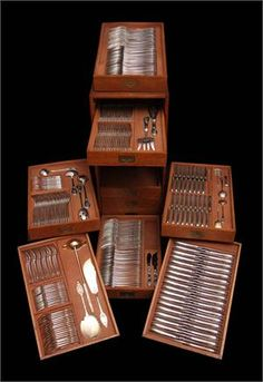The Complete Set - French 19th Century sterling silver and vermeil flatware set, 303 pieces plus 10 Drawer Storage Chest !!