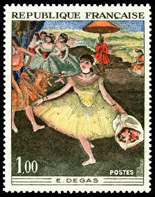 Edgar Degas (1834-1917) «Danseuse au bouquet saluant sur la scène» - Timbre de 1970