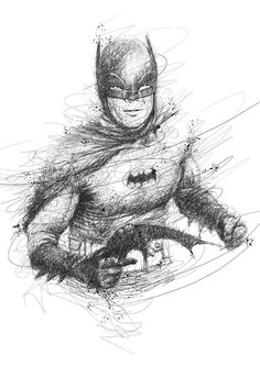 Batman - Adam West. Scribble Drawing Portraits Super Heroes and More. See more art and information about Vince Low, Press the Image.