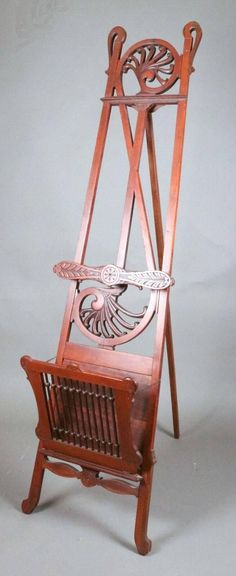 View this item and discover similar for sale at - Antique Victorian Eastlake style easel features carved mahogany stylized treble cleft back design terminating in Nautilus scrolls, foliate carved tray Victorian Rooms, Victorian Style Homes, Victorian House, Easel, Woodworking Projects, Art Decor, Living Room Decor, Carving, Aesthetic Movement