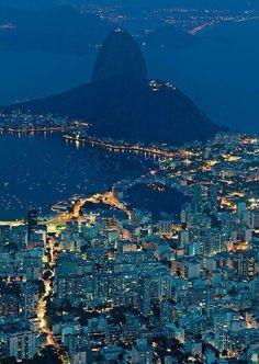 Rio de Janeiro, Brazil, at night.
