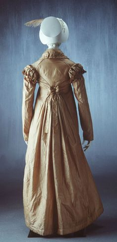 Pelisse: ca. 1813-1823, English, silk, chain. Shows detail starting to come into back of gown.