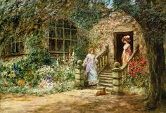 """""""Elegante Konversation"""" von Henry John Jeend King (geboren am 21. August 1855 in London, gestorben am 10. Juni 1924 in London), englischer Maler des viktorianischen Zeitalters."""