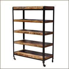 Industrial 5 Open Rack Storage Shelf Wrought Iron Metal & Hard Wood Cart Wheels