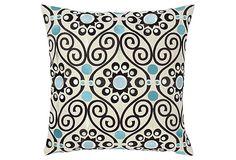 Istanbul Embroidered Pillow, Ocean on OneKingsLane.com