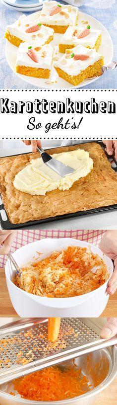 Saftiger #Karottenkuchen mit cremigem #Frischkäse-Topping: Wir zeigen Schritt für Schritt, wie dir das #Grundrezept für den Klassiker an #Ostern gelingt.