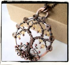 Antique Copper Faerie Yellow Topaz Gemstone Tree of Life Pendant