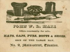 "An illustration from an 1840 advertising card from John W. D. Hall, hat maker. Read more on the GenealogyBank blog: ""How to Date Old Photos of Our Ancestors with Early Fashion Trends."""
